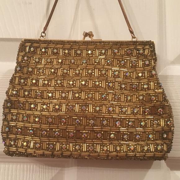 Handbags - EUC! GORGEOUS vintage AB crystal gold handmade bag